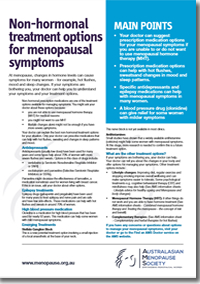 Non hormonal treatment options for menopausal symptoms