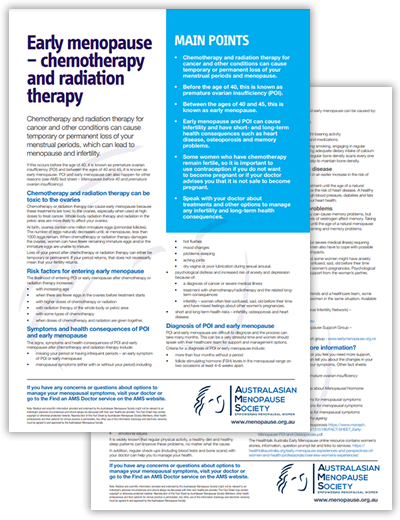 FS Early menopause chemotherapy and radiation therapy