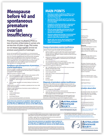 FS Menopause before 40 and spontaneous premature ovarian insufficiency