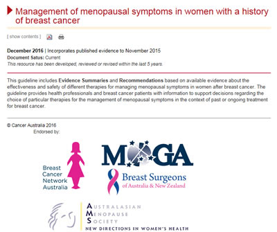 Management of menopausal symptoms in women with a history of breast cancer